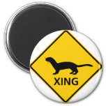Weasel / Ferret Crossing Highway Sign 2 Inch Round Magnet