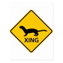 Weasel / Ferret Crossing Highway Sign Postcard