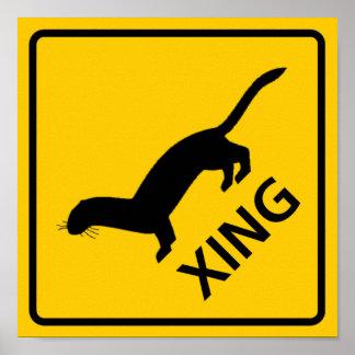 Weasel / Ferret Crossing Highway Sign Poster