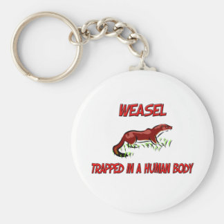 Weasel trapped in a human body basic round button keychain