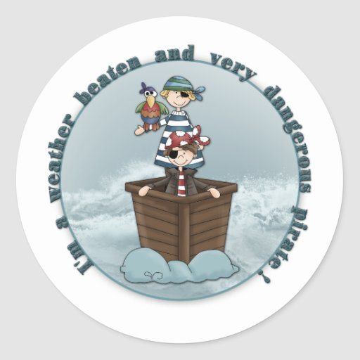 Weather beaten and dangerous pirate stickers