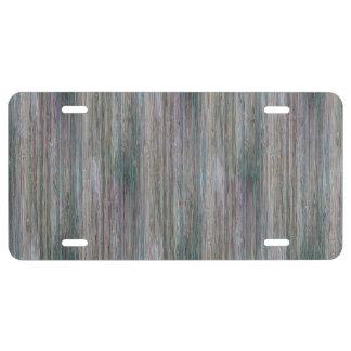 Weather-beaten Bamboo Wood Grain Look License Plate