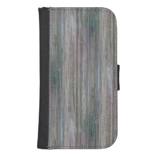 Weather-beaten Bamboo Wood Grain Look Wallet Phone Case For Samsung Galaxy S4