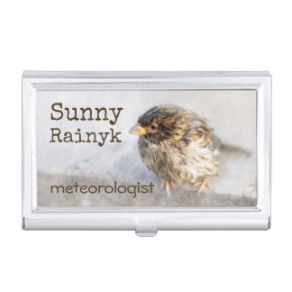 Weather forecast wet sparrow customizable business card case
