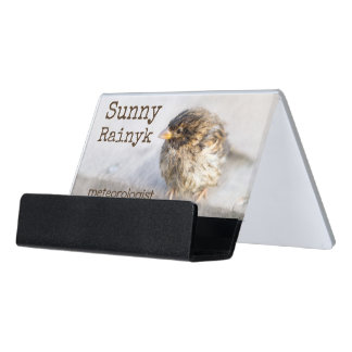 Weather forecast wet sparrow customizable desk business card holder
