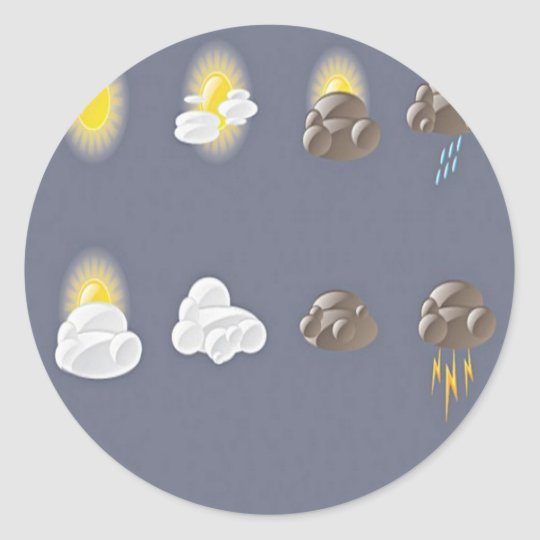 Weather icons design classic round sticker