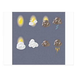 Weather icons design postcard