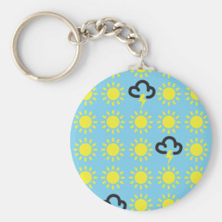 Weather pattern: Retro weather forecast symbols Basic Round Button Keychain