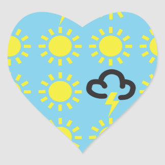 Weather pattern: Retro weather forecast symbols Heart Sticker