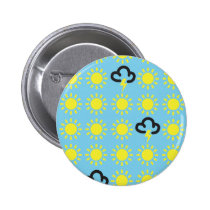 Weather pattern: Retro weather forecast symbols Pinback Button