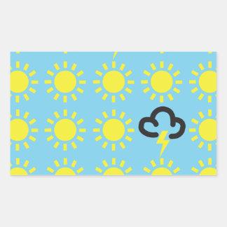 Weather pattern: Retro weather forecast symbols Rectangular Sticker