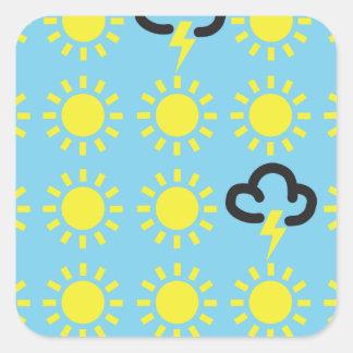 Weather pattern: Retro weather forecast symbols Square Sticker