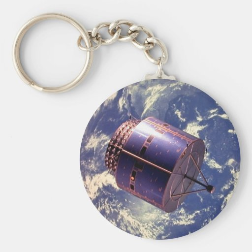 Weather satellite model in space key chain
