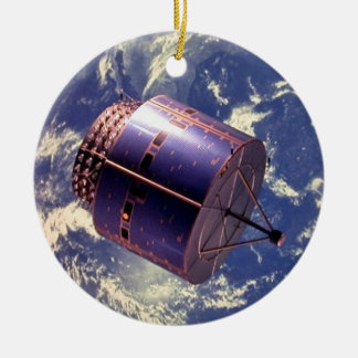 Weather satellite model in space Double-Sided ceramic round christmas ornament