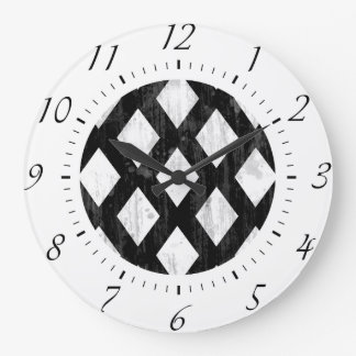 Weather Seamless Pattern, Diamonds Black and White Large Clock