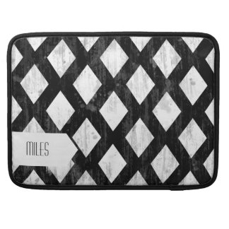 Weather Seamless Pattern, Diamonds Black and White Sleeves For MacBooks