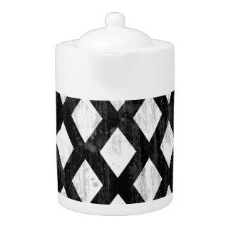 Weather Seamless Pattern, Diamonds Black and White Teapot