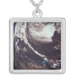Weather Systems Above Earth Square Pendant Necklace
