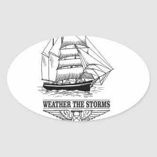 weather the storm glory oval sticker