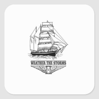 weather the storm glory square sticker