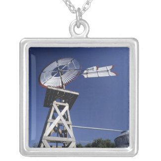 Weather vane and water tank, San Antonio, Texas, Silver Plated Necklace