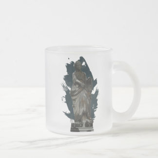 Weather Worn Serene Statue in Cemetery Frosted Glass Coffee Mug