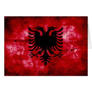 Weathered Albania Flag Card