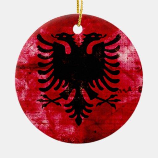 Weathered Albania Flag Ceramic Ornament