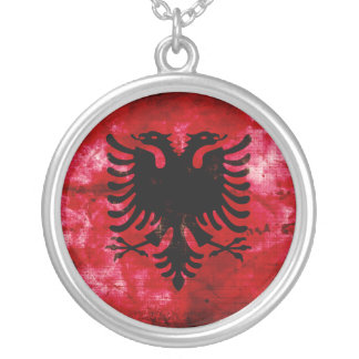 Weathered Albania Flag Silver Plated Necklace