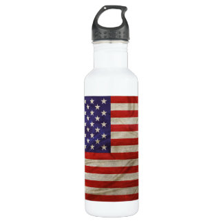 Weathered American Flag Water Bottle