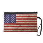 Weathered American Flag Wristlet Clutch