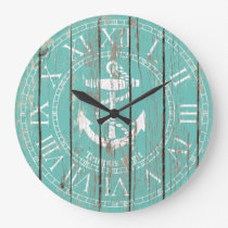 Weathered Anchor Personalize Large Clock