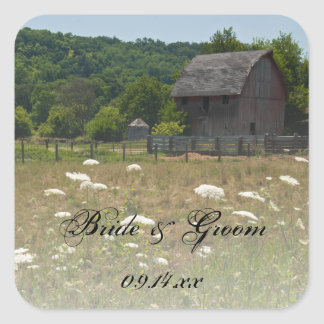 Weathered Barn Country Wedding Envelope Seals Square Sticker