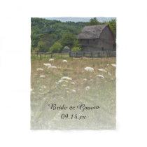 Weathered Barn Country Wedding Fleece Blanket