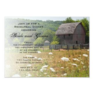 Weathered Barn Country Wedding Rehearsal Dinner Card