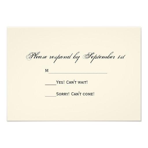 Weathered Barn Country Wedding Response Card Custom Invitations (back side)