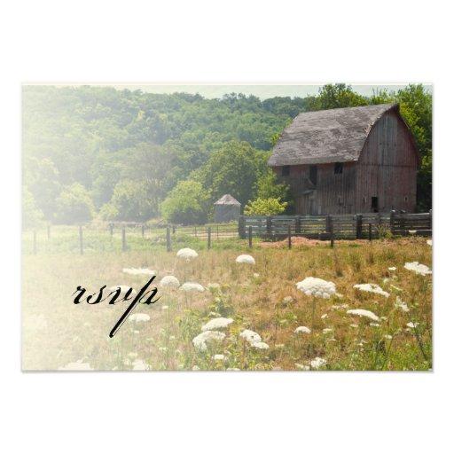 Weathered Barn Country Wedding Response Card Custom Invitations