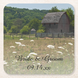 Weathered Barn Country Wedding Square Paper Coaster