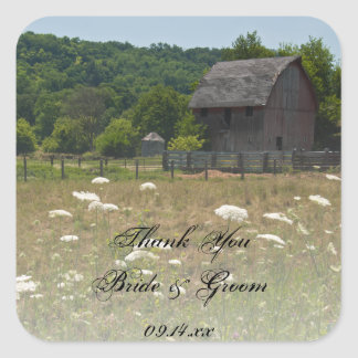 Weathered Barn Country Wedding Thank You Favor Tag Square Sticker