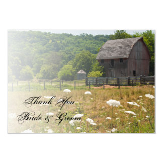 Weathered Barn Country Wedding Thank You Note Card