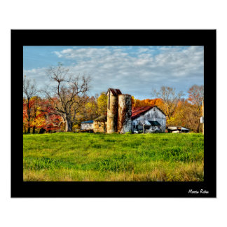 Weathered Barn in Autumn Poster
