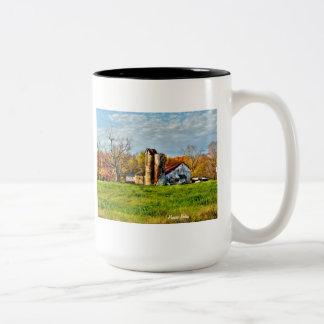 Weathered Barn in Autumn Two-Tone Coffee Mug
