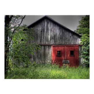 Weathered barn with red doors poster