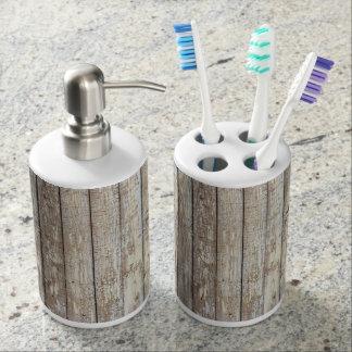 Weathered Barn Wood Soap Dispenser & Toothbrush Holder