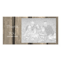 Weathered Barn Wood Thank You Photo Card