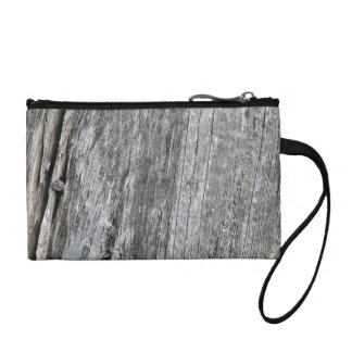 Weathered barn wood with nail coin wallet