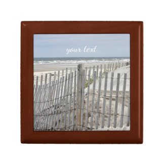 Weathered beach fence and ocean beach jewelry box