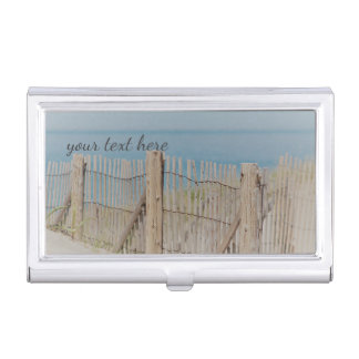 Weathered Beach Fence Business Card Holder