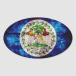 Weathered Belize Flag Oval Sticker