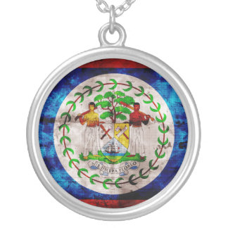 Weathered Belize Flag Silver Plated Necklace